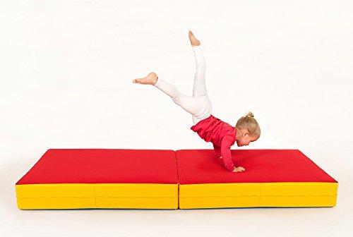 FLIXI Hüpfmatratze - ab 1 Jahre - Turn Matte für Kinder - Spiel Matratze zum Toben - Hüpfen - Balancieren Rot/Gelb