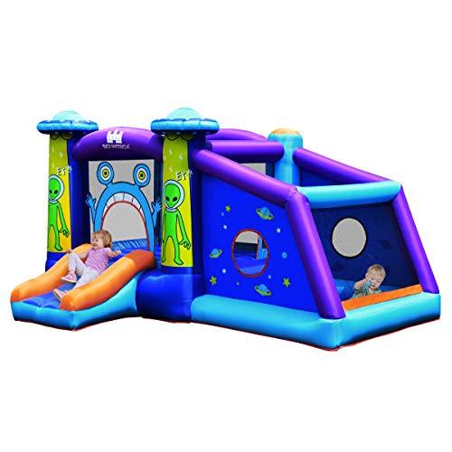 COSTWAY Alien Hüpfburg aufblasbar, Springburg, Hüpfschloss mit Rutsche und Spiel Bereich, Spielburg für Kinder...