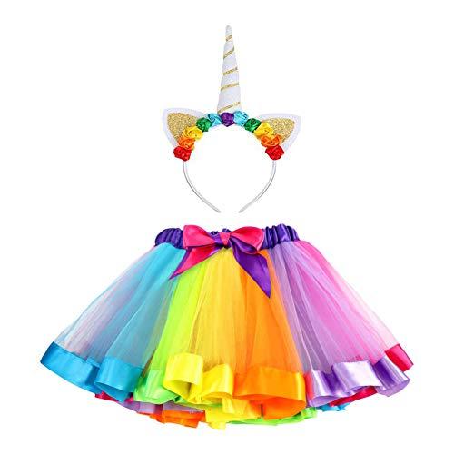 vamei Einhorn kostüm Mädchen Tüllrock Kinder Kostüm Mädchen Einhorn Haarreif Tütü Unterrock Pettirock Prinzessin...