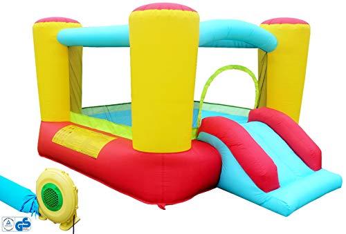 Hüpfburg Kinder Indoor und Outdoor mit Gebläse XL Jump House Komplett-Set aufblasbar Rutsche Spielhaus Ritterburg...