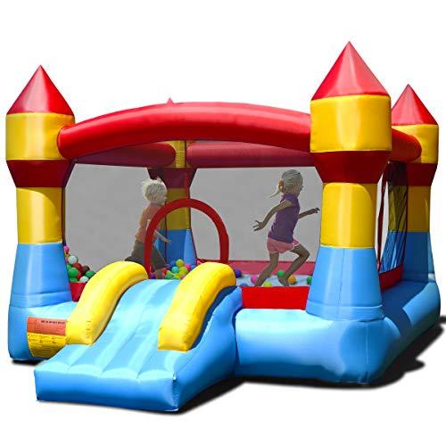 DREAMADE Hüpfburg Hüpfhaus für Kinder, Spielhaus Spielburg aufblasbar, Springburg Hüpfschloss mit Rutsche und...