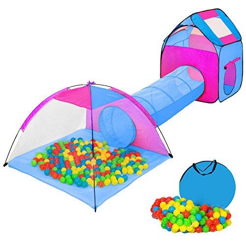 tectake Iglu Kinderspielzelt Spielhaus Kinderzelt mit Krabbeltunnel + 200 Bälle + Tasche - diverse Farben - (Pink-Blau...