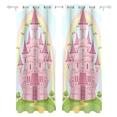 Zemivs Rosa Prinzessin Queen Castle einseitiger Druck Blackout Vorhänge Vorhänge Fenster Behandlung Duschvorhang...