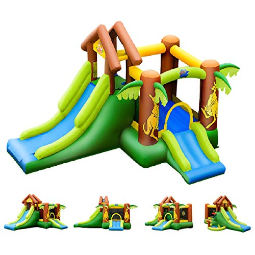 COSTWAY Hüpfburg aufblasbar, Springburg mit 30 Bälle, Hüpfschloss mit Rutsche, Spielburg für Kinder (390x340x230cm)